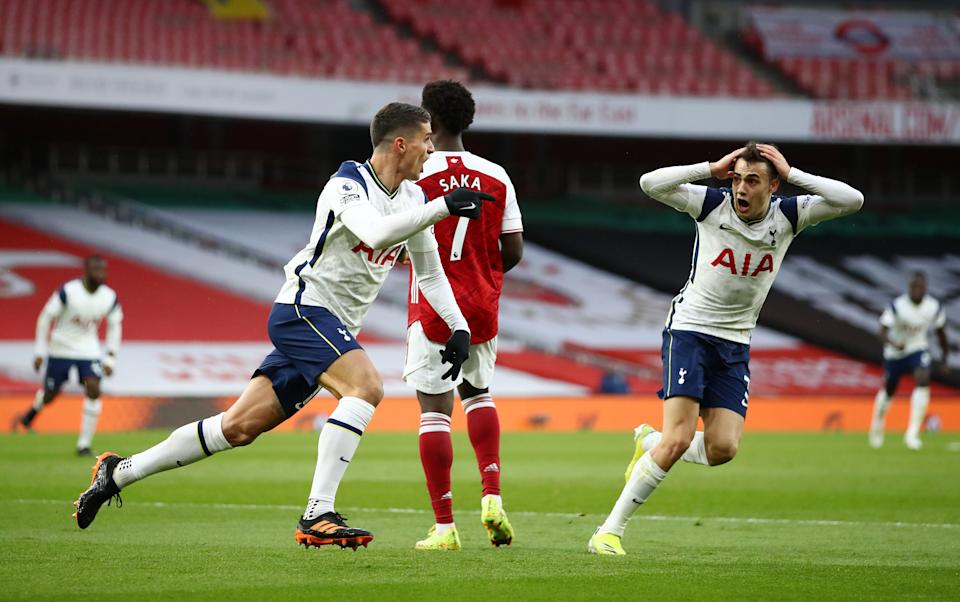 Erik Lamela scored a golazo and in that moment, we were all Sergio Reguilón (right). (Photo by Tottenham Hotspur FC via Getty Images)