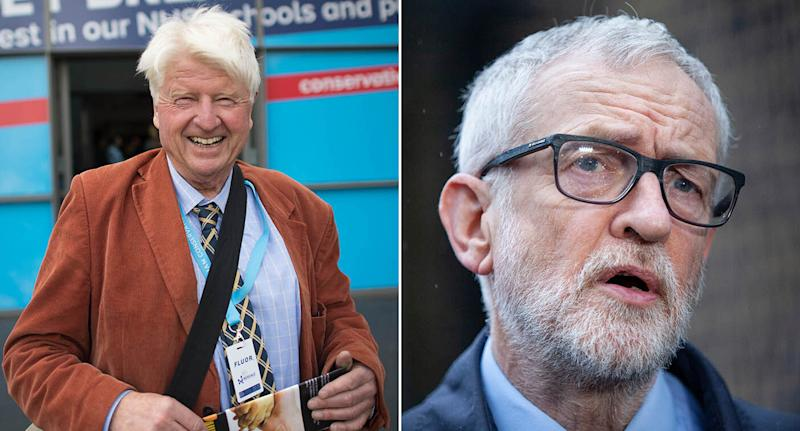 Stanley Johnson (left) and Jeremy Corbyn (right) will not be fined for breaching coronavirus rules. (PA)