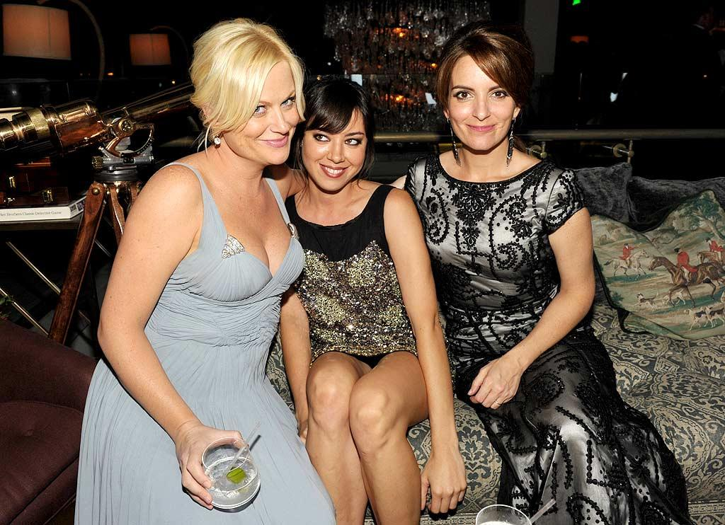 """NBC funny ladies Amy Poehler, Aubrey Plaza, and Tina Fey hit up AMC's post-Emmy bash at Soho House in West Hollywood. John Shearer/<a href=""""http://www.gettyimages.com/"""" target=""""new"""">GettyImages.com</a> - August 29, 2010"""