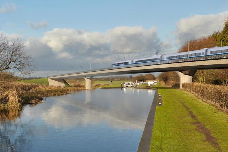An artist's impression of an HS2 train on the Birmingham and Fazeley viaduct (Press Association Images)
