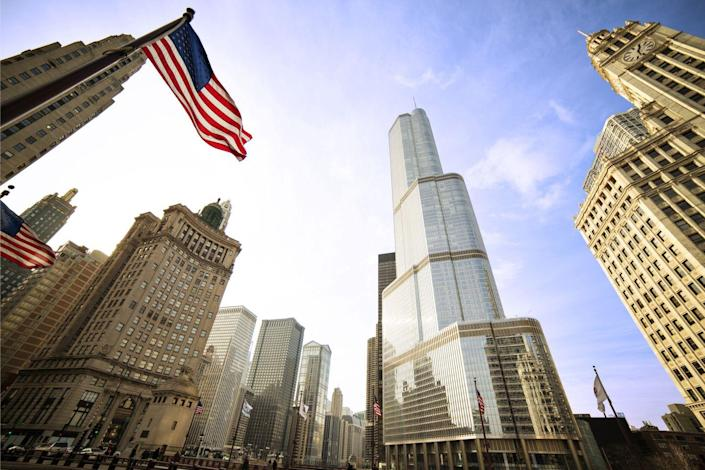 <p><strong>Location:</strong> Chicago, United States</p><p><strong>Height:</strong> 1,389 feet</p><p><strong>Completion Date:</strong> 2009</p><p>This recent addition to the Windy City's skyline appears to reflect the signature angular styling of the Willis Tower, but the story setbacks—those ledges where the building steps back from its lower heights—were more explicitly designed to align with the heights of nearby structures such as the Wrigley Building and the Marina City Towers. The Trump International Tower and Hotel also stands as the tallest building in the world to use reinforced concrete as its primary structural material.</p>