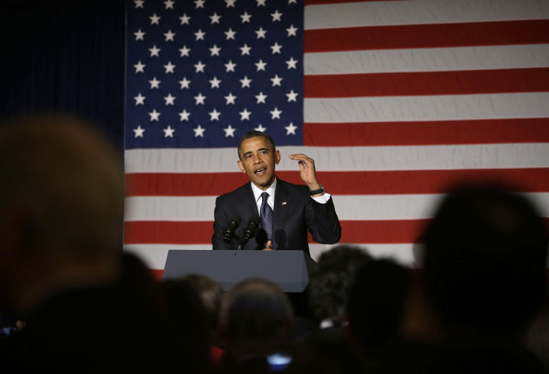 President Barack Obama speaks during a fundraiser in Chicago, Wednesday, May 29, 2013. Obama traveled to Chicago for two fundraisers to raise money for the Democratic Congressional Campaign Committee. (AP Photo/Pablo Martinez Monsivais)
