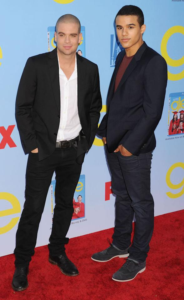 "Mark Salling and Jacob Artist arrive at the ""Glee"" Premiere Screening And Reception at Paramount Studios on September 12, 2012 in Hollywood, California."
