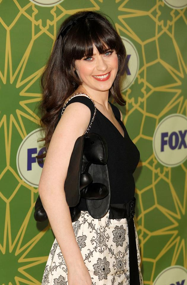 """<a href=""""/zooey-deschanel/contributor/29387"""">Zooey Deschanel</a> (""""<a href=""""/new-girl/show/47384"""">New Girl</a>"""") attends the 2012 Fox Winter TCA All-Star Party at Castle Green on January 8, 2012 in Pasadena, California."""