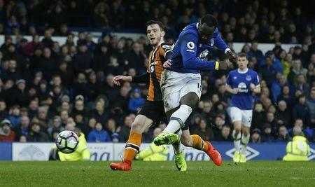 Everton's Romelu Lukaku scores their third goal