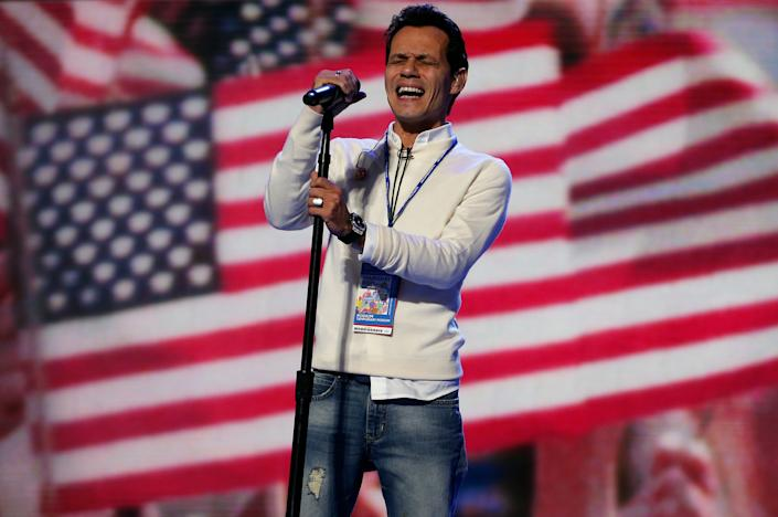 Singer Marc Anthony rehearses the national anthem prior to the final session of the Democratic National Convention in 2012.