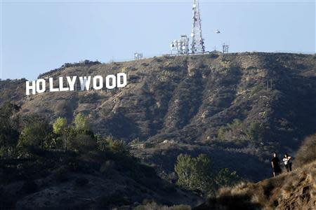 A view of the Hollywood sign from Bronson Canyon park in Hollywood