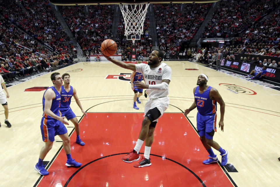 San Diego State guard KJ Feagin, center, shoots during the first half of the team's NCAA college basketball game against Boise State, Saturday, Jan. 11, 2020, in San Diego. (AP Photo/Gregory Bull)