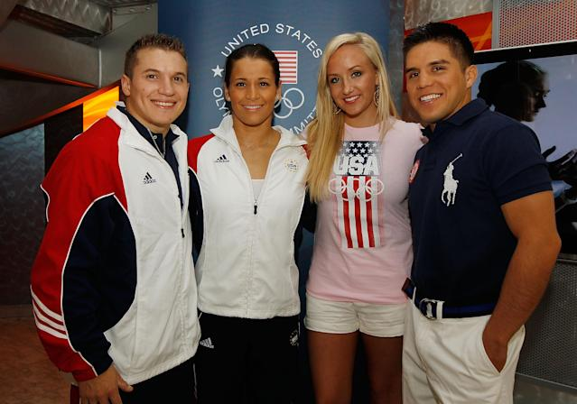 NEW YORK, NY - JULY 27: (L-R) USA Olympic athletes Jon Horton, Alicia Sacramone Nastia Liukin and Henry Cejudo poses for a photo on July 27, 2011 at the Nike Store in New York City (Photo by Mike Stobe/Getty Images)