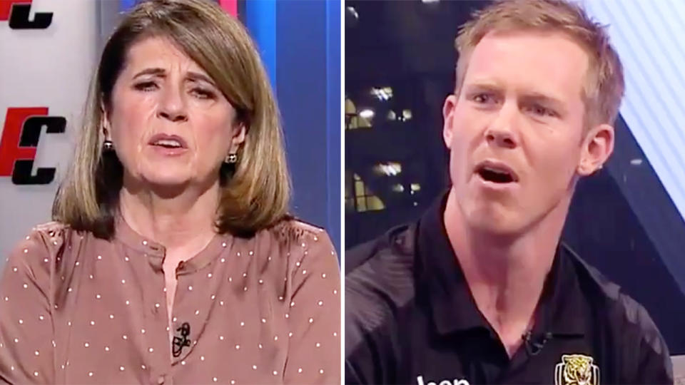 Caroline Wilson, pictured here hitting back at comments from Jack Riewoldt and other AFL players.