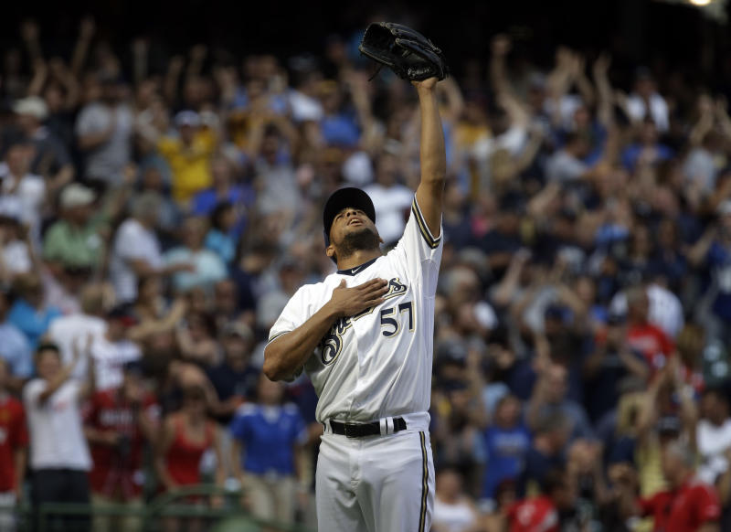 Milwaukee Brewers relief pitcher Francisco Rodriguez reacts after getting Atlanta Braves' Freddie Freeman to ground out to end the baseball game Saturday, June 22, 2013, in Milwaukee. (AP Photo/Morry Gash)