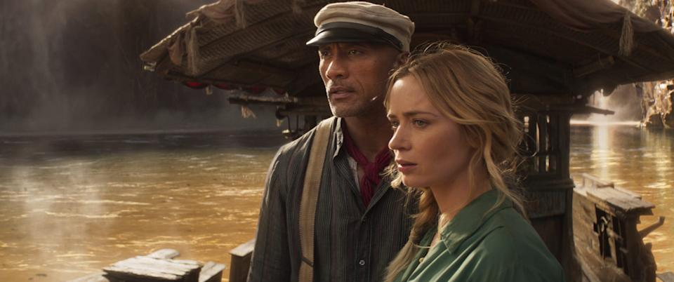 """Dwayne """"The Rock"""" Johnson and Emily Blunt in """"Jungle Cruise."""""""