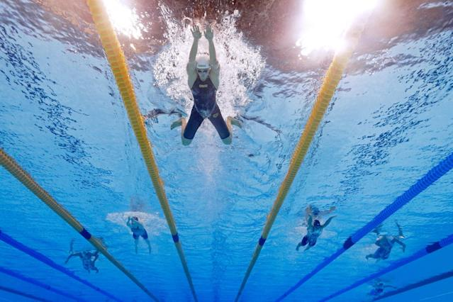 <p>Katinka Hosszu of Hungary competes in heat five of the Women's 400m Individual Medley on Day 1 of the Rio 2016 Olympic Games at the Olympic Aquatics Stadium on August 6, 2016 in Rio de Janeiro, Brazil. (Photo by Al Bello/Getty Images) </p>