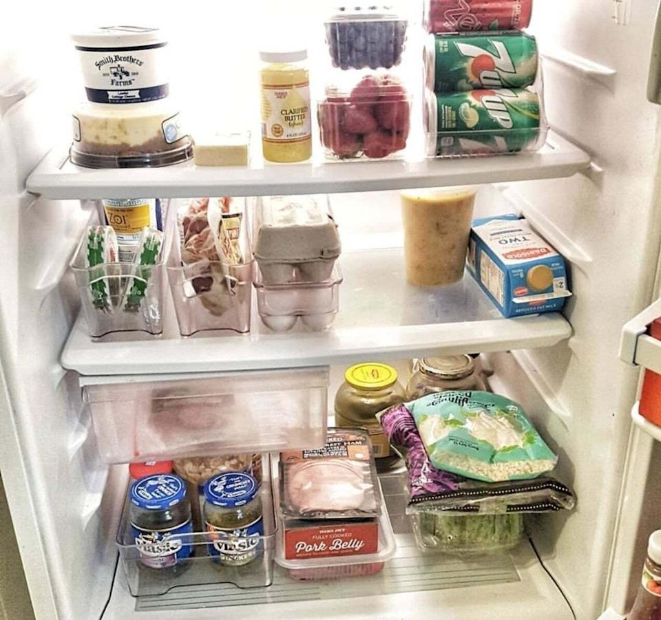 """Add some order to your chaotic mess of groceries with this set. And because you'll be able to actually see all your food, you might just end up using that bag of lettuce before it goes bad!<br /><br /><strong>Promising review:</strong>""""It's nice to be able to find things in the refrigerator and be able to pull out the whole tray container to see what's in the back of the fridge. I don't know if this happens to you, but I find my way to the back every so often, and come to find out a jar in the back expired a year ago. Now I can see everything and use it."""" —<a href=""""https://www.amazon.com/dp/B074CJH2NH?tag=huffpost-bfsyndication-20&ascsubtag=5833640%2C17%2C43%2Cd%2C0%2C0%2C0%2C962%3A1%3B901%3A2%3B900%3A2%3B974%3A3%3B975%3A2%3B982%3A2%2C16261646%2C0"""" target=""""_blank"""" rel=""""noopener noreferrer"""">BookBroke<br /></a><br /><strong>Get a six-piece set from Amazon for<a href=""""https://www.amazon.com/dp/B074CJH2NH?tag=huffpost-bfsyndication-20&ascsubtag=5833640%2C17%2C43%2Cd%2C0%2C0%2C0%2C962%3A1%3B901%3A2%3B900%3A2%3B974%3A3%3B975%3A2%3B982%3A2%2C16261646%2C0"""" target=""""_blank"""" rel=""""noopener noreferrer"""">$34.99</a>.</strong>"""