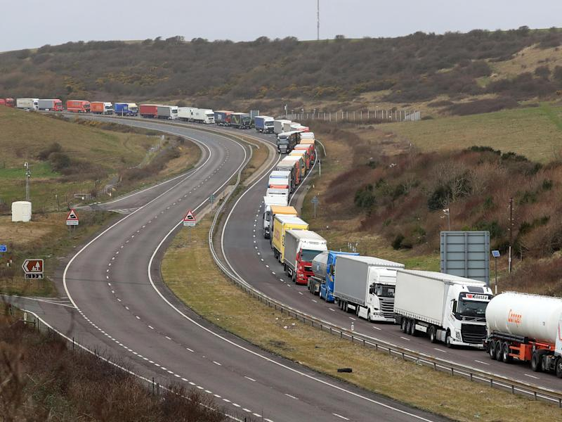 File: lorries queue at the entrance to the Port of Dover in Kent: PA