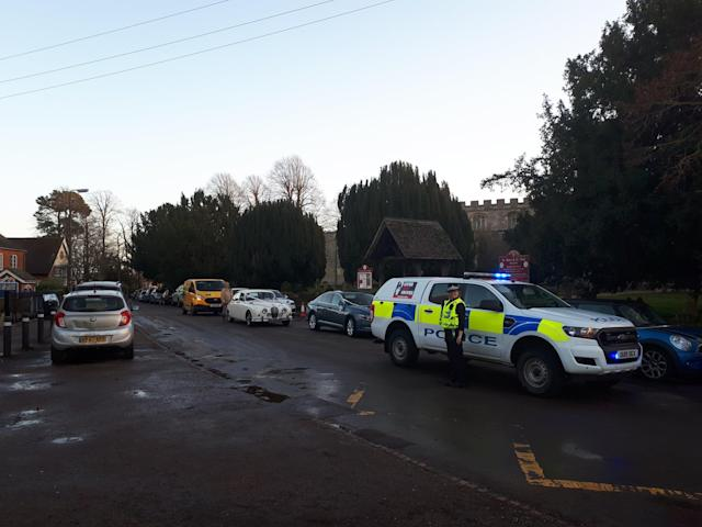 Police were waiting outside the church to take the couple to their reception (Picture: Bedfordshire Police)