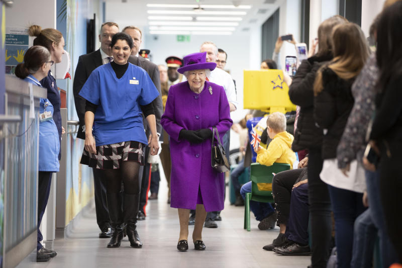 Queen Elizabeth II during the official opening of the new premises of the Royal National ENT and Eastman Dental Hospitals in London. PA Photo. Picture date: Wednesday February 19, 2020. See PA story ROYAL Queen. Photo credit should read: Heathcliff O'Malley/Daily Telegraph/PA Wire