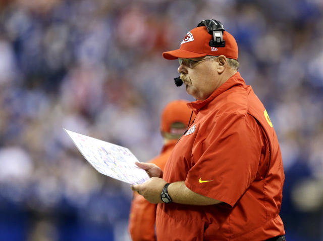 Kansas City Chiefs head coach Andy Reid watches action from the sideline against the Indianapolis Colts during the first half of an NFL wild-card playoff football game Saturday, Jan. 4, 2014, in Indianapolis. (AP Photo/Michael Conroy)