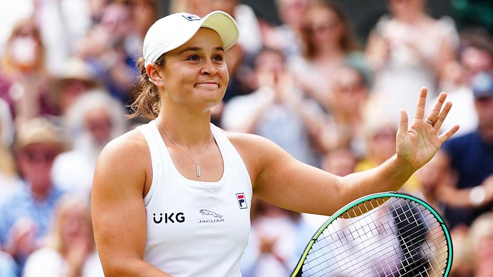 Ash Barty is seen here thanking fans after booking her spot in the Wimbledon final.