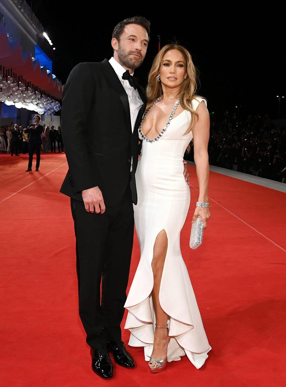 """Ben Affleck and Jennifer Lopez attend the red carpet of the movie """"The Last Duel"""" during the 78th Venice International Film Festival on September 10, 2021"""