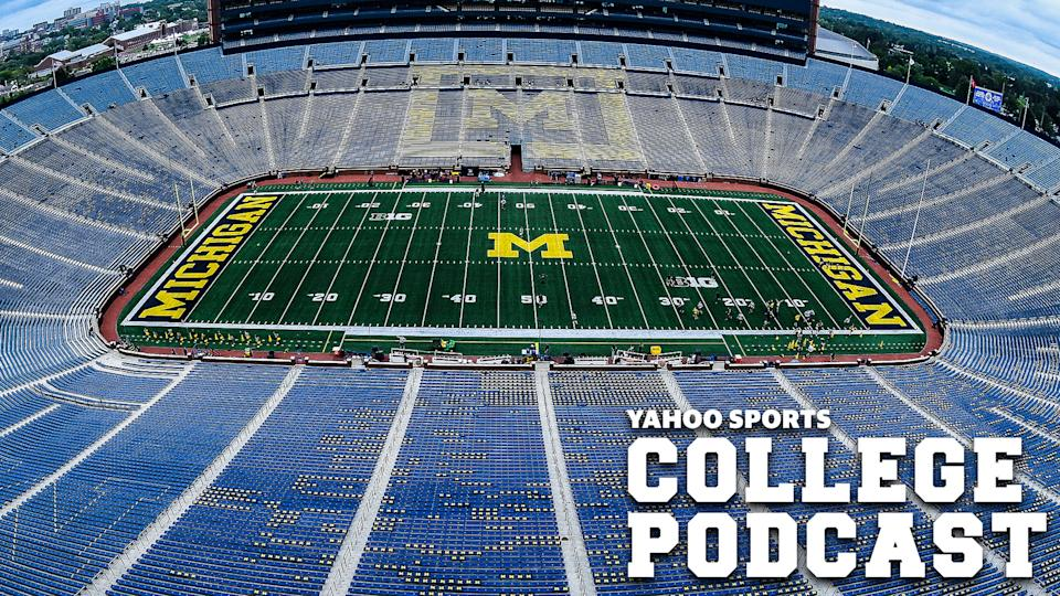 Michigan Stadium sits empty before a home game in 2019. Would the college athletics landscape ever be the same if the 2020 CFB season doesn't happen. Dan Wetzel, Pete Thamel & SI's Pat Forde investigate on the latest Yahoo Sports College Podcast. (Photo by Steven King/Icon Sportswire via Getty Images)