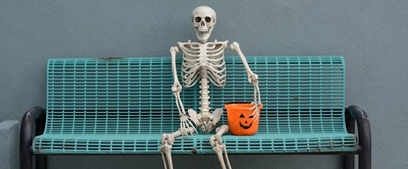 Poseable skeleton decorations come in many sizes