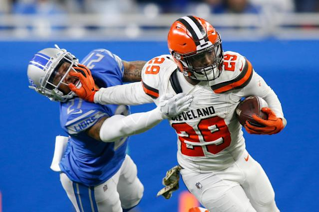 <p>Cleveland Browns running back Duke Johnson, Jr. (29) tries to elude Detroit Lions safety Glover Quin (27) during game action between the Cleveland Browns and the Detroit Lions on November 12, 2017 at Ford Field in Detroit, Michigan. The Detroit defeated Cleveland 38-24. (Photo by Scott W. Grau/Icon Sportswire via Getty Images) </p>