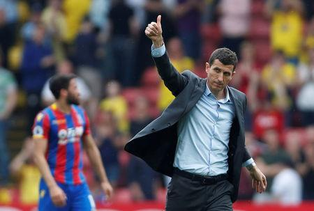 Soccer Football - Premier League - Watford v Crystal Palace - Vicarage Road, Watford, Britain - April 21, 2018 Watford manager Javi Gracia acknowledges fans after the match Action Images via Reuters/Paul Childs
