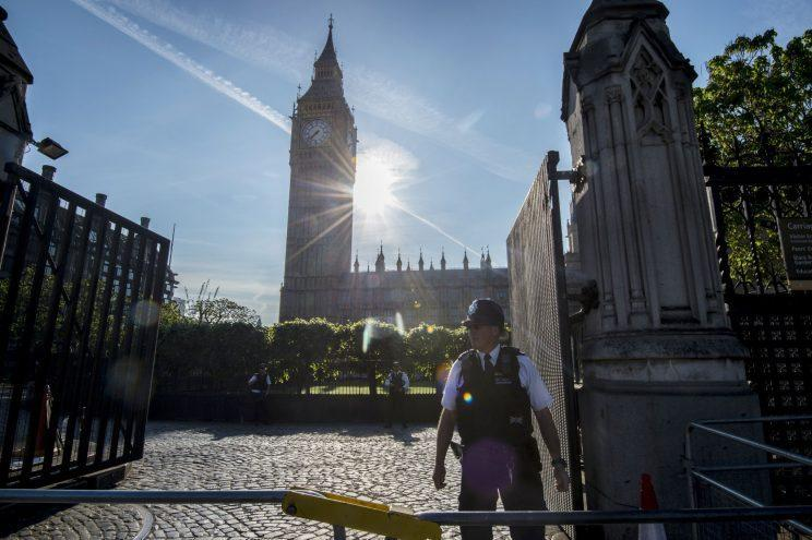 Police officers outside the Palace of Westminster (PA)