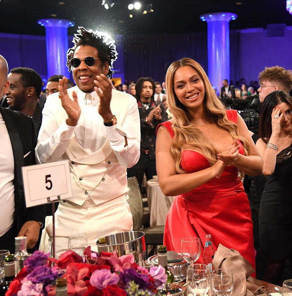 """JAY-Z and Beyoncé are all smiles at Clive Davis' pre-Grammy Gala, which honored Sean """"Diddy"""" Combs, in Beverly Hills on Saturday night."""