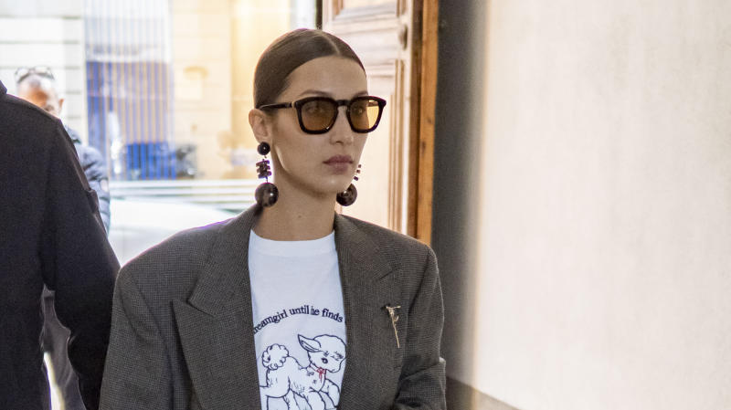 Bella Hadid is seen during Milan Fashion Week Fall/Winter 2020-2021 on February 21, 2020 in Milan, Italy. (Getty Images)