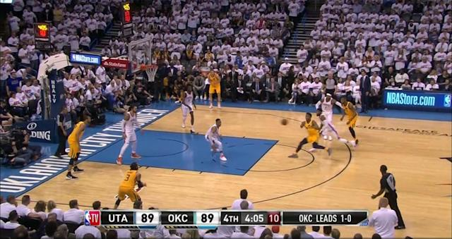 Russell Westbrook leaves Ricky Rubio alone at the 3-point arc in the fourth quarter of Game 2. (Screencap via NBA)