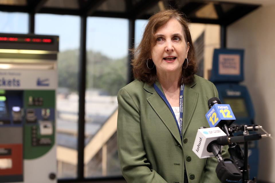 Catherine Rinaldi, president of MTA Metro-North Railroad, speaks with reporters at the Croton-Harmon train station June 8, 2020 as New York City begins Phase 1 reopening.