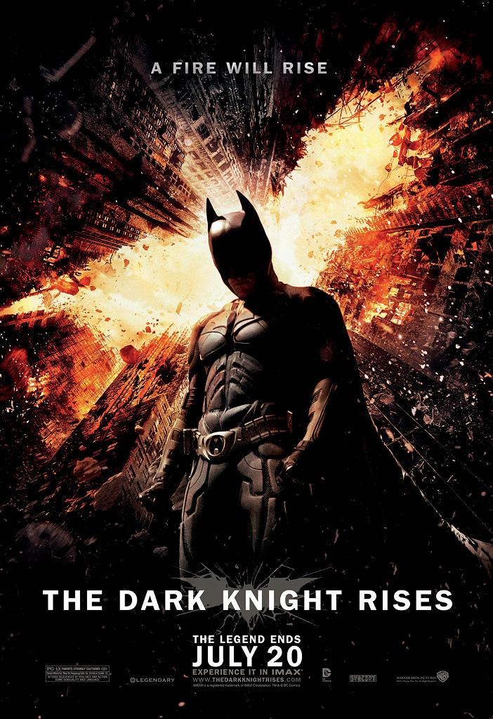 "This theatrical poster for ""The Dark Knight Rises"" was released on Monday, placing Batman at the center of a fiery, collapsing cityscape (which, of course, looks a lot like the Bat-symbol). Some online fans expressed their disappointment with the image, feeling it was not terribly original. But it does fit in with the aesthetic style of many of the earlier posters from Nolan's Bat-films. Keep clicking to see more posters from the trilogy."