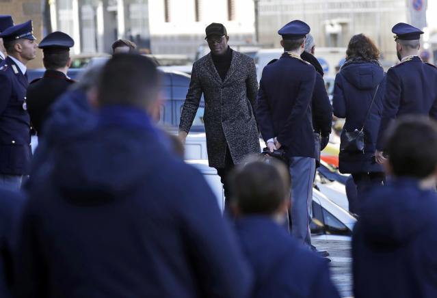 <p>Khouma Babacar arrives for the funeral ceremony of Italian player Davide Astori in Florence, Italy, Thursday, March 8, 2018. The 31-year-old Astori was found dead in his hotel room on Sunday after a suspected cardiac arrest before his team was set to play an Italian league match at Udinese. (AP Photo/Alessandra Tarantino) </p>