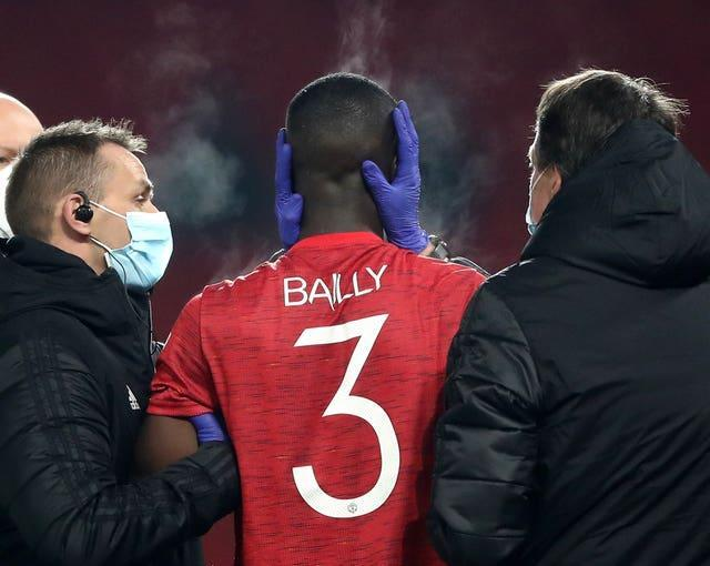 Eric Bailly was taken off after receiving a blow to the head towards the end of the first half against Watford in the FA Cup on Saturday
