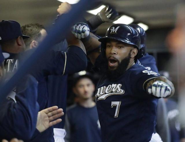 "Eric Thames, along with Brewers teammates <a class=""link rapid-noclick-resp"" href=""/mlb/players/9712/"" data-ylk=""slk:Corey Knebel"">Corey Knebel</a> and Oliver Drake, will soon be actual brewers. (AP Photo)"