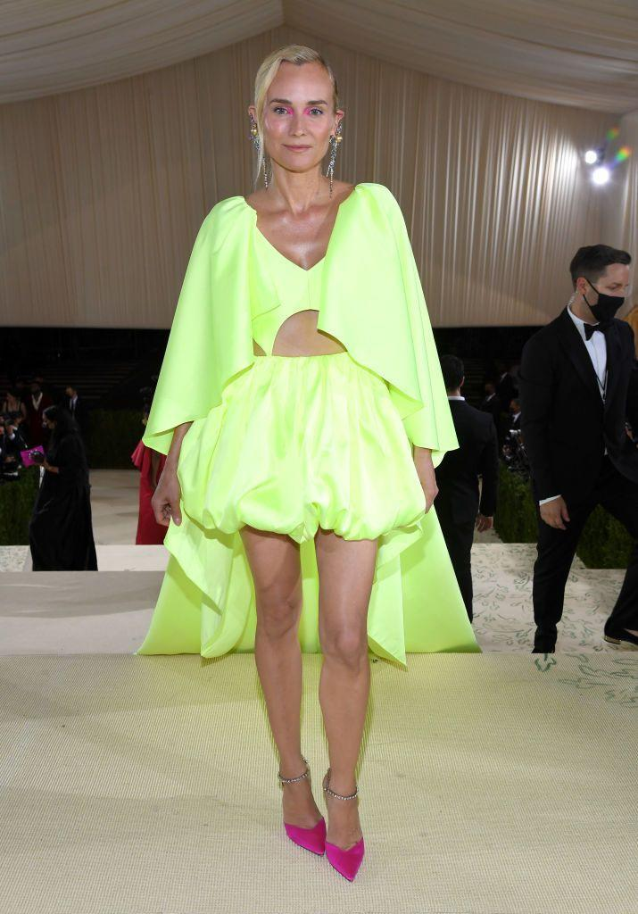 <p>Kruger wore a puffball skirt in neon for the night. </p>