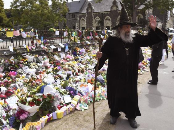 Mr Channell is paid $10,000 a year, partly to appear at civic events such as this memorial to the victims of the Christchurch mosque shootings (Getty Images)