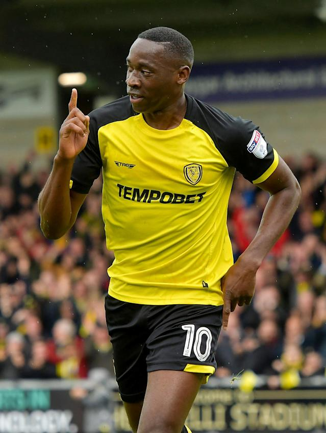 "Soccer Football - Championship - Burton Albion vs Bolton Wanderers - Pirelli Stadium, Burton, Britain - April 28, 2018 Burton Albion's Lucas Akins celebrates scoring their second goal Action Images/Paul Burrows EDITORIAL USE ONLY. No use with unauthorized audio, video, data, fixture lists, club/league logos or ""live"" services. Online in-match use limited to 75 images, no video emulation. No use in betting, games or single club/league/player publications. Please contact your account representative for further details."