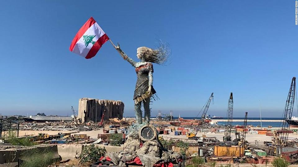 """<p>Hayat Nazar created a statue of a woman using glass and rubble from the Beirut port explosion.</p><div class=""""cnn--image__credit""""><em><small>Credit: Courtesy Hayat Nazer / Courtesy Hayat Nazer</small></em></div>"""