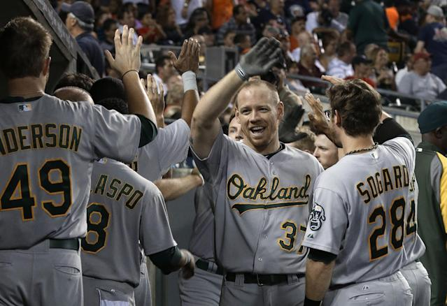 Oakland Athletics' Brandon Moss (37) is congratulated in the dugout after hitting a three-run home run against the Detroit Tigers in the eighth inning of a baseball game in Detroit, Wednesday, Aug. 28, 2013. (AP Photo/Paul Sancya)