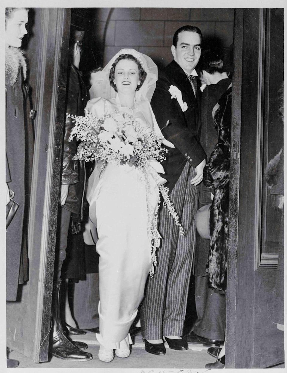 """<p>In what was called Atlanta's wedding of the year, Catherine Wood Campbell married Randolph Apperson Hearst in 1938. Catherine was the only daughter of Morton Campbell, a wealthy telephone company executive while Randolph was the son of William Randolph Hearst, a media mogul (full disclosure: <em>Marie Claire</em> is a subsidiary of The Hearst Corporation). The wedding had nine bridesmaids and 15 groomsmen. The bride wore a <a href=""""https://people.com/archive/pattys-free-but-randolph-left-and-catherine-hearst-wonders-whats-next-vol-11-no-14/"""" rel=""""nofollow noopener"""" target=""""_blank"""" data-ylk=""""slk:white satin gown and tulle veil"""" class=""""link rapid-noclick-resp"""">white satin gown and tulle veil</a>. The couple went on to have five daughters: Catherine, Virginia, Patty, Anne, and Vicki. </p>"""