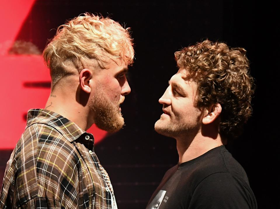 LAS VEGAS, NEVADA - MARCH 26:  Jake Paul (L) and Ben Askren face off during a news conference for Triller Fight Club's inaugural 2021 boxing event at The Venetian Las Vegas on March 26, 2021 in Las Vegas, Nevada. Paul and Askren will face each other in the main event that will take place on April 17, 2021, at Mercedes-Benz Stadium in Atlanta.  (Photo by Ethan Miller/Getty Images)