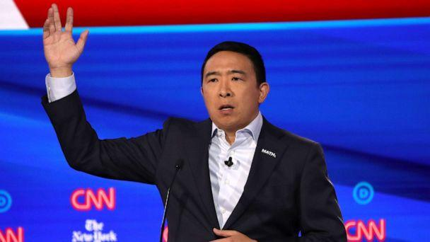 PHOTO: Democratic presidential hopeful Andrew Yang speaks during the fourth Democratic primary debate at Otterbein University in Westerville, Ohio, Oct. 15, 2019. (Win Mcnamee/Getty Images)