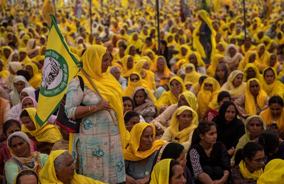 <p>Women farmers attend a protest against farm laws on the occasion of International Women's Day at Bahadurgar, India</p> (Reuters)
