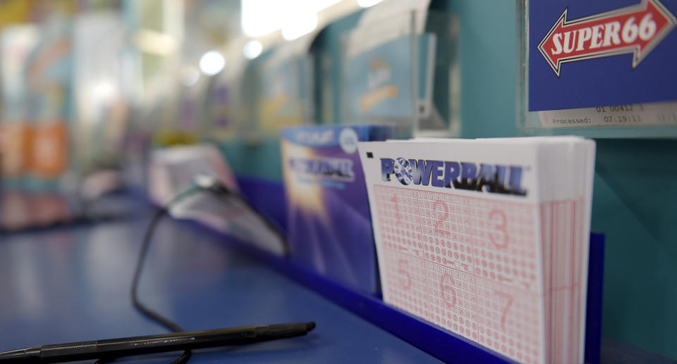 Powerball tickets at a newsagency.
