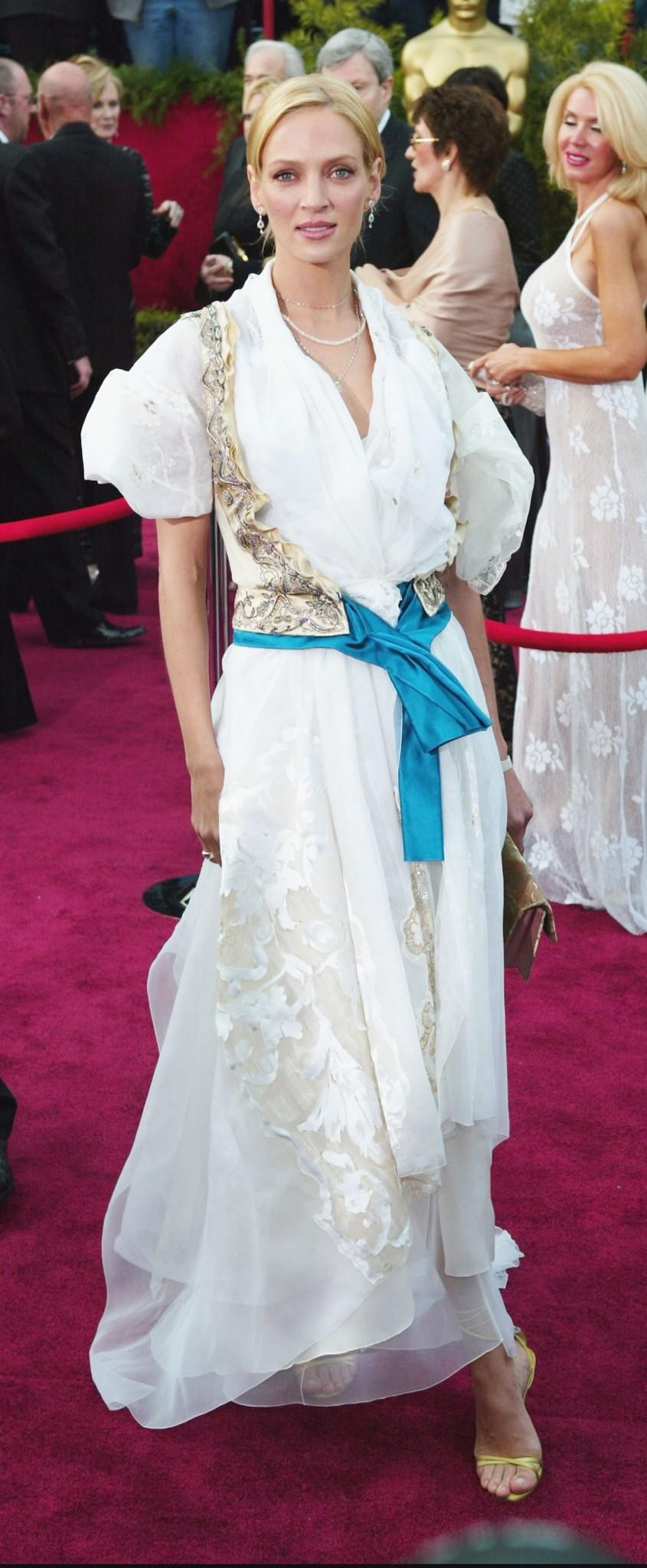 <p>Thurman looks as if she's attending a toga party rather than the 2004 Oscars. <em>[Photo: Getty/Frank Micelotta]</em> </p>