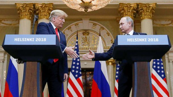PHOTO: President Donald Trump and Russia's President Vladimir Putin shake hands during a joint news conference after their meeting in Helsinki, Finland, July 16, 2018. (Kevin Lamarque/Reuters, FILE)
