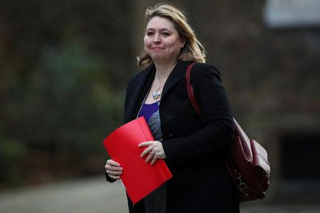 FILE PHOTO: Britain's Secretary of State for Northern Ireland Karen Bradley arrives in Downing Street in London, February 6, 2018. REUTERS/Hannah McKay